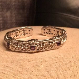 Judith Ripka Sterling and Amethyst Cuff